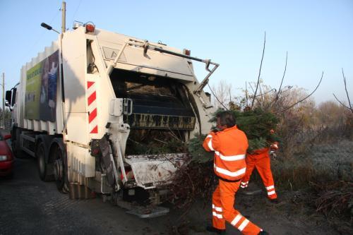 Bild: Mitarbeiter der Abfallwirtschaft Nordharz GmbH sammeln die kompostierbaren Abfälle ein