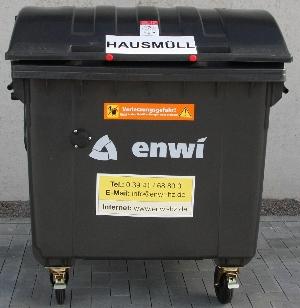 Bild: 1.100 Liter Hausmüllcontainer aus Kunststoff