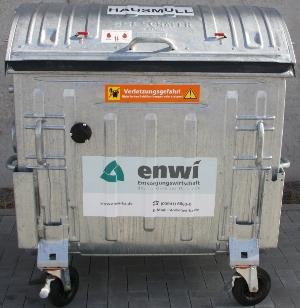 Bild: 1.100 Liter Hausmüllcontainer aus Metall